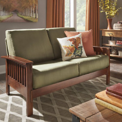 Classic Solid Wood Mission Style Oak 60 Recessed Arms Loveseat Sofa Couch Chair