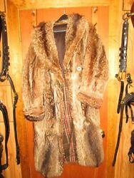 Antique Double Breasted Raccoon Coat 44 Long Fully Lined- Size 37
