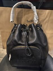 ❤️NWT JES DRAWSTRING BUCKET BAG WITH HORSE AND CARRIAGE COACH 1898 IM BLACK $378 $179.99