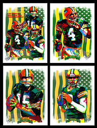 4 Posters Green Bay Packers Starr Favre Rodgers Sports Print Wall Art 18x24