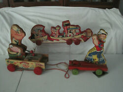 3 Vintage Popeye Wooden Pull Toys 1962 And 1950-60's