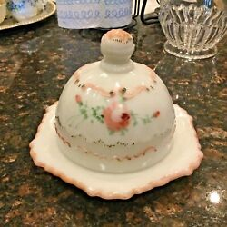 Antique Hand Painted Milk Glass Covered Butter Dish C 1940's-50's Floral/ribbon