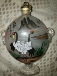 Vintage Painted Crystal Frosted Snuff Opium Bottle Birds