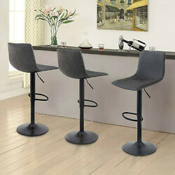 Swivel Bar Stools Set Of 2 Gray Leather Height Counter Adjustable Bar Chairs