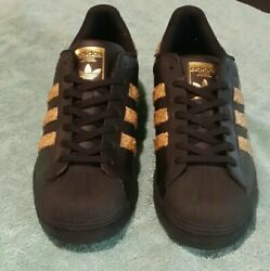 Adidas Superstar Custom Shell-top Black/gold Authentic Ejizzled