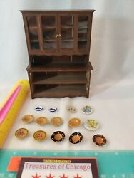 Vintage 1978 H. Troger Doll House Furniture Kitchen Dining Hutch With 14 Plates