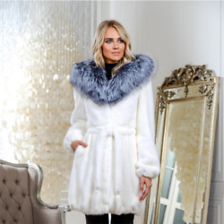 Women White Real Mink Fur Coat With Silver Fox Fur Collar Jacket Overcoat Hooded