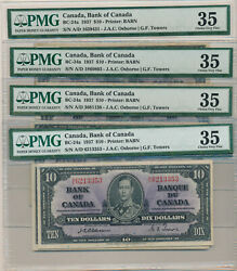 Canada Lot Of 5 Osborne-towers 10 Dollars 1937 Bc-24a - Pmg 35 Choice Very Fine