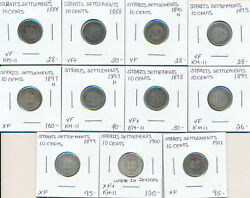 Straits Settlements Lot Of 11 Victoria 10 Cents 1888-1901 - Vf To Xf+