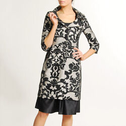 Mango Black Embroidered Lace Mesh Retro 3/4 Sleeve Formal Car Coat Topper