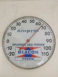 Vintage Amprol Thermometer Beacon Feeds Farm Advertising Agriculture