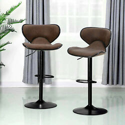 Bar Stools Set Of 2 Counter Height Adjustable Bar Stools Swivel Pu Leather Brown