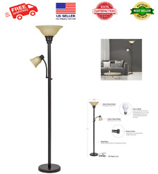 Transitional Metal Uplight Floor Lamp W Reading Light And Glass Shades, 71,bronze