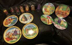 Lot - Vintage Mcdonalds Glasses And Plates 1977 1989 - Very Good Condition- Nice