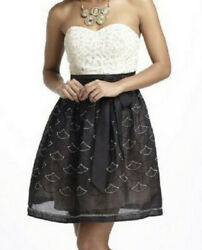 Anthropologie Crochet Dress Womenandrsquos Size 4 Ivory Mini Fit And Flare Mini Nwt