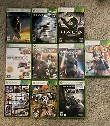 Xbox 360 Game Pack 9 Games. Halo Borderlands 2 Mass Effect 2and3 Fallout And More.