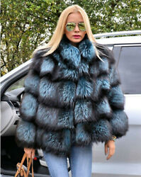 Women Real Silver Fox Fur Coat Jacket With Stand Collar Loose Warm Overcoat
