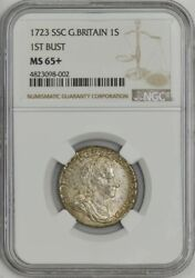 1723 Ssc Great Britain 1 Shilling 1st Bust Ms65+ Ngc 943596-24