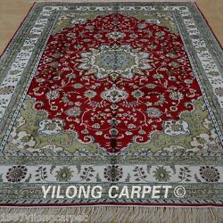 Yilong 6x9' Handknotted Classic Silk Area Rug Living Room Oriental Carpet 1215
