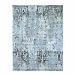 8and039x10and0392 Wool With Real Silk Abstract Design Denser Weave Handknotted Rug G59524
