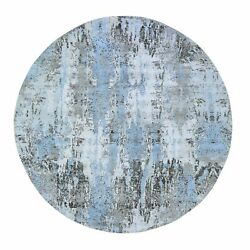 8and0391x8and0391 Woolreal Silk Abstract Design Denser Weave Handmade Round Rug G59523
