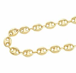 10k Yellow Gold 12mm Hollow Puff Mariner Chain Necklace Available 18-30 Inches