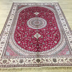 Yilong 6'x9' Red Handknotted Silk Carpet Medallion Indoor Floral Area Rug Y059c