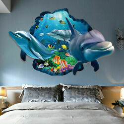 3D Dolphin Ocean Wall Stickers Decor Decals Stereoscopic Vivid Vinyl Kids Room