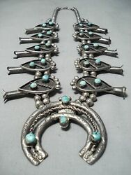Museum Womenand039s Vintage Navajo Turquoise Sterling Silver Squash Blossom Necklace