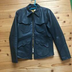East West Goat Leather Vintage Jacket Loftman Size M Outer Long Sleeves