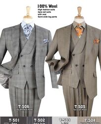 Apollo King Menand039s Superior High Fashion Super 150and039s Luxurious 100 Wool Suit