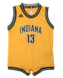 Adidas Nba Infants Indiana Pacers Paul George 13 Replica Road Romper Yellow
