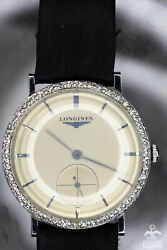 Longines Manual Winding 18k Solid White Gold And 0.66 Ctw Diamond Bezel Watch