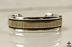 Bruce Morgan 14k Yellow Gold And Sterling Silver Navajo Cuff Bracelet