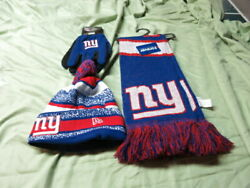 Nwt New York Giants Snow Hat Glove And Scarf Set 1/2 Price Sh