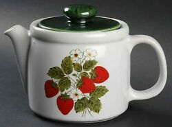 Mccoy Nelson Large Ceramic Strawberry Country Teapot And Lid