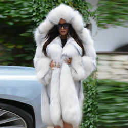 Womenand039s Winter Whole Skin Real Vulpes Fox Fur Coat Hooded Jacket Overcoat 90cm