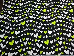 Hearts on BLACK Fabric LIME GREEN amp; WHITE 7 8 YARD X 44 45quot; WIDE COTTON