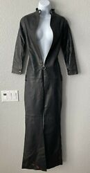 New Romp Leather Black Catsuit Sexy Bootcut Jumpsuit Zipper 3/4 Sleeve Size Xs