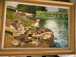 Fishing By The Bridge Painting By John Haskins