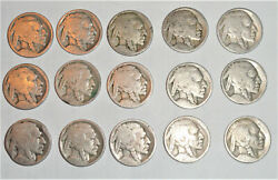 Lot Of 15 Heavily Circulated Buffalo Five Cent Nickels No Date 1913-1938