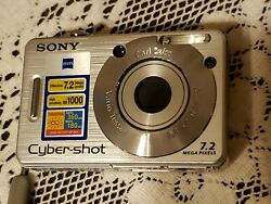 Sony Cyber-shot Dsc-w80 7.2mp Digital Camera With Battery And Charger No Cord
