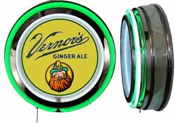 Vernor's Ginger Ale Sign Neon Sign Green Neon Chrome No Clock Soda Pop Vernors