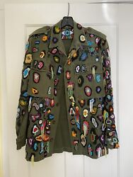 Libertine Army Green Embellished Embroidered Beaded Jacket M 3500