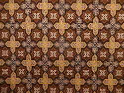 Clarence House Saratoga Gros-point Fabric. Mustard-brown-black 9.5 Yds. F-204