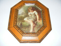 The Timid Bather By Henry Le Jeun In Octagonal Light Oak Veneer Wood Frame