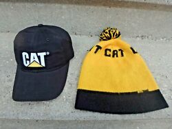 Vintage Caterpillar Winter Hat And New Cap Black And Yellow Diesel