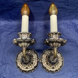 Antique Early Electric Scalloped Brass Candle Sconces Pair 15a