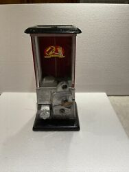 Antique The Master Antique 1 Cent Gumball Machine Coin 1923 Red And Black