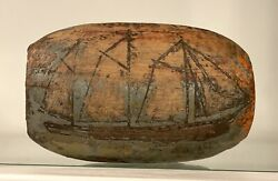 Antique Old Nautical Sailor Carved Wooden Fishing Float - Sail Boat Dated 1909